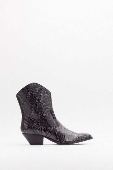 Womens Grey Snake the Risk Faux Leather Western Boots