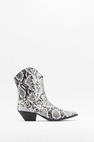 Womens White Pu snake western boot