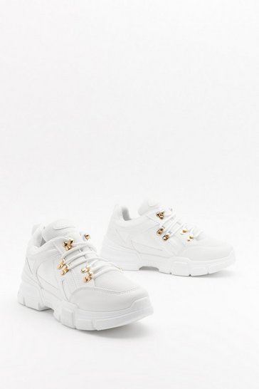 Womens White Pu hiker lace trainer