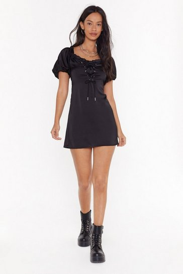 Womens Black Lace Your Steps Satin Mini Dress