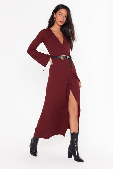 Womens Burgundy Time to Wrap Things Up Maxi Dress