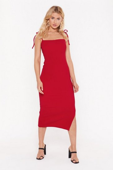 Womens Red Slit's My Life Tie Ribbed Midi Dress
