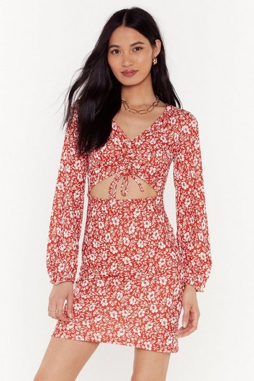 Womens Red Let Your Gard-en Down Floral Mini Dress