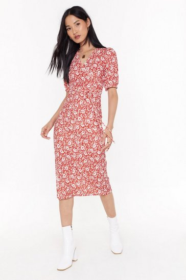 Womens Red Puff sleeve midaxi dress floral print