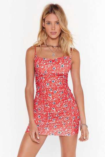 Red We Plant Stop Floral Mini Dress