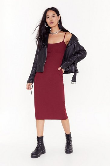 Burgundy Everything is Not What Slit Seems Midi Dres