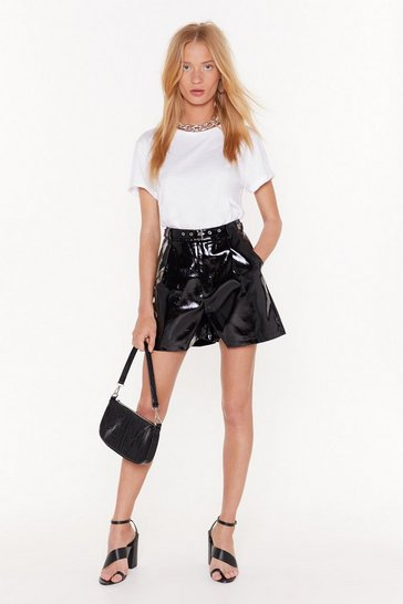 Womens Black Vinyl Countdown High-Waisted Shorts