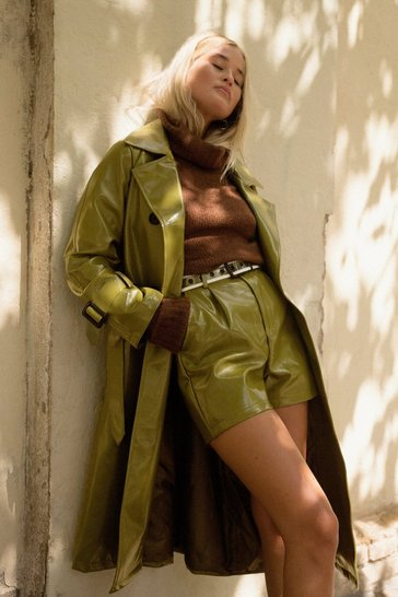 Womens Olive Vinyl Countdown High-Waisted Shorts