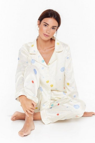 Womens Cream Supersonic Rocket Ship Pajama Pants Set
