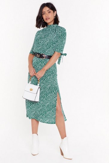 Green Polka Dot Side Split Midi Skirt