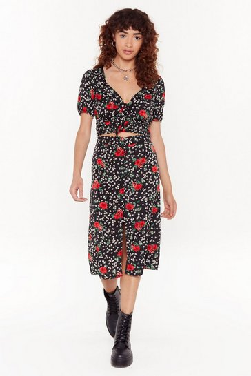 Womens Black Floral or Nothing Midi Skirt