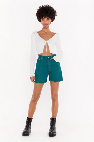 Forest Nasty Gal Vintage Rise Above Them Longline Denim Shorts