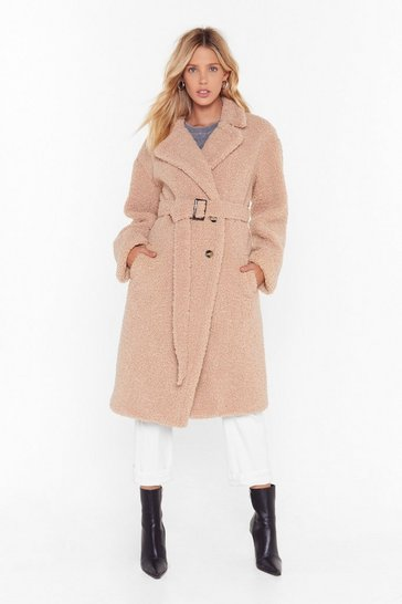 Womens Camel Never Belt This Way Faux Fur Longline Coat