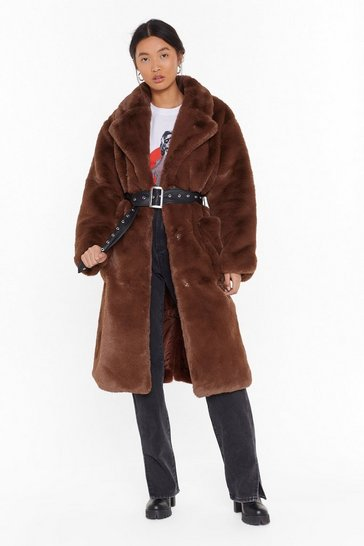 Womens Brown Belted Faux Fur Coat
