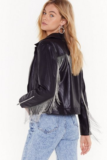 Womens Black Save Rock and Roll Faux Leather Fringe Jacket