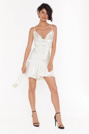 Womens Cream Belted Shimmer mini Dress with Frill Hem
