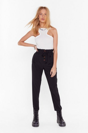 Black Button Front Wide Leg Culottes
