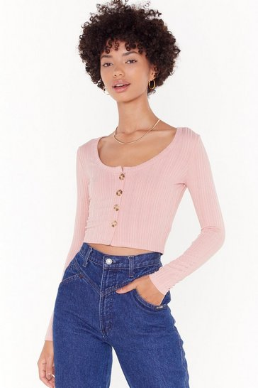 Womens Rose Put Knit on Me Ribbed Cropped Cardigan