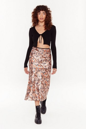Womens Orange Give Us the Grow Down Floral Midi Skirt