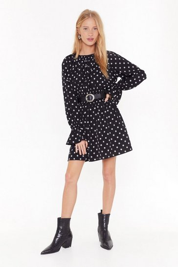 Womens Black As Star As I Remember Frill Mini Dress
