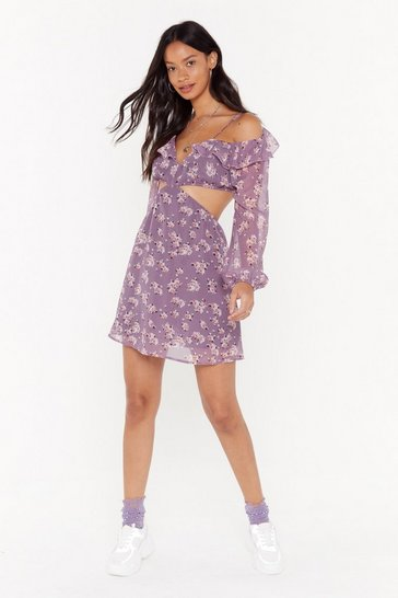 Womens Purple Make a Little Bloom For Me Floral Mini Dress