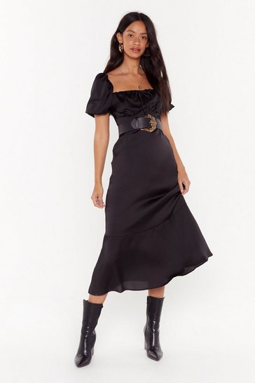 Womens Black As It Satins Square Neck Midi Dress