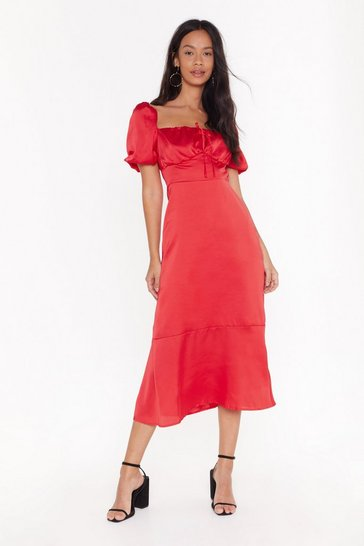 Red As It Satins Square Neck Midi Dress