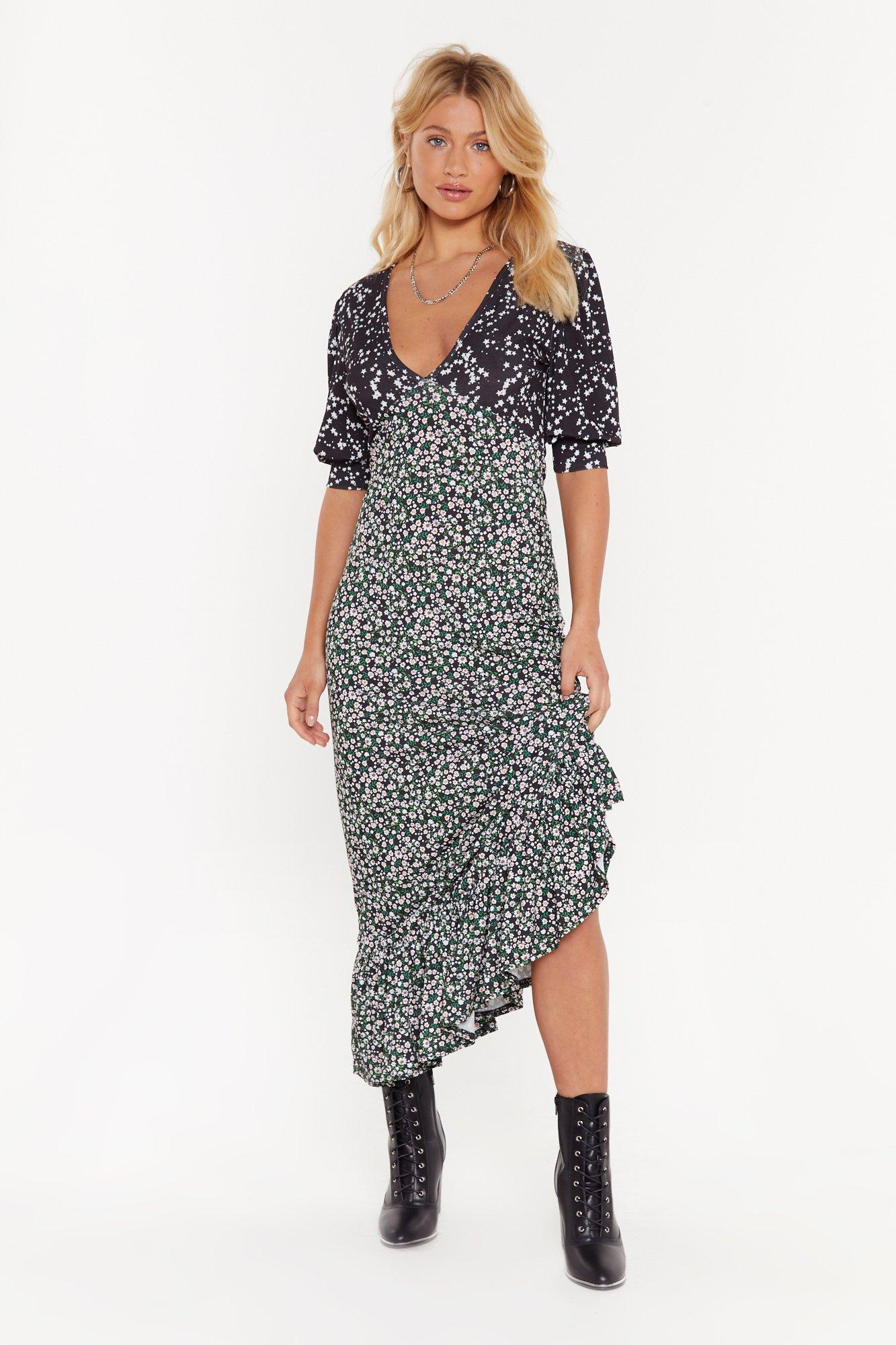 You'll Thank V Later Star Floral Maxi Dress | Nasty Gal