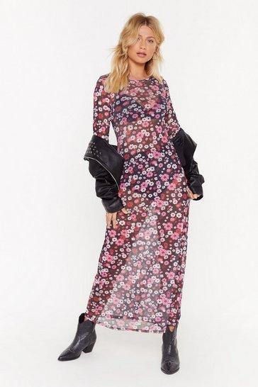 Black Best Days of Flowers Lives Floral Maxi Dress