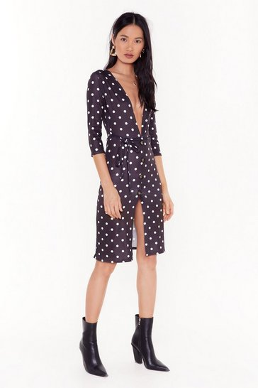 Womens Black Don't Spot Being Yourself Polka Dot Midi Dress