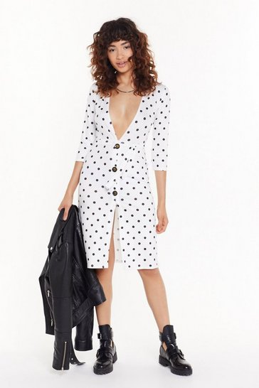 Womens White Don't Spot Being Yourself Polka Dot Midi Dress