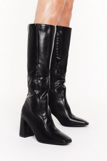 Black Flare for Dramatics Square Toe Knee-High Boots