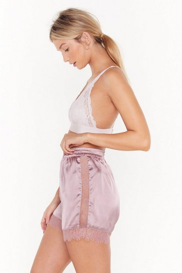 Womens Mauve Never Gonna Satin Lace Pajama Shorts