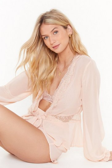 Womens Nude Oh This Old Thing Chiffon Lace Pajama Short Set