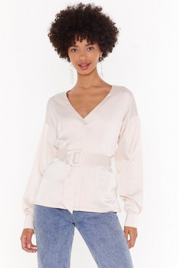 Womens Nude No Time to Waist Satin Belted Blouse