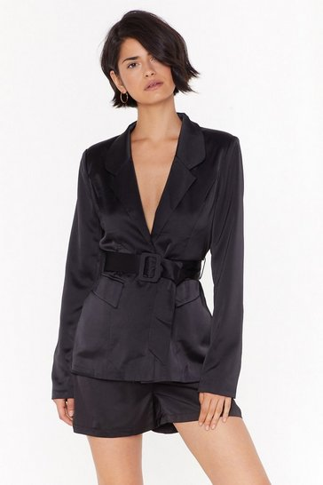 Womens Black Step Into My Office Satin Belted Blazer