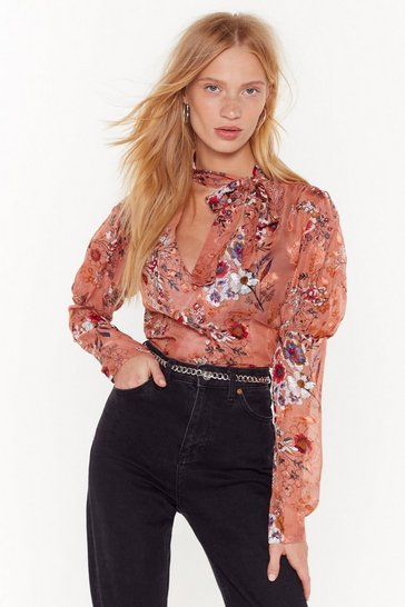 Womens Coral Let's Grow Crazy Floral Tie Blouse