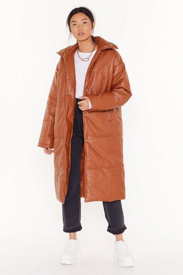 Womens Tan Longing For This Faux Leather Padded Coat