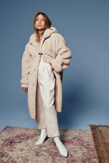 Cream Oversized Longline Toggle Teddy Coat
