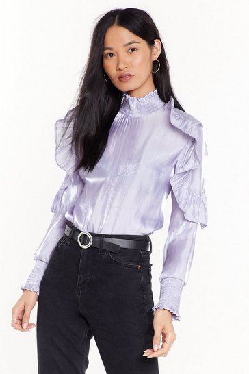 Lavender What Frill It Take Satin High Neck Blouse