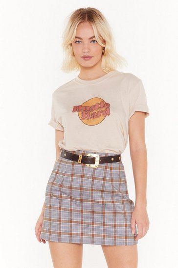 Womens Orange School's Out Check Mini Skirt