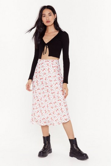 Womens White Spring Love Floral Midi Skirt