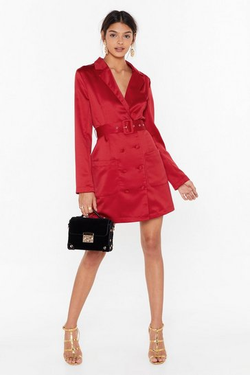 Womens Red Such a Hell Blazer Satin Dress