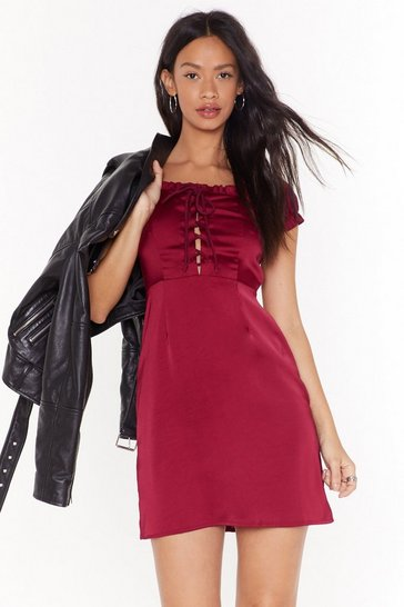 Womens Burgundy Tongue Tied Satin Mini Dress