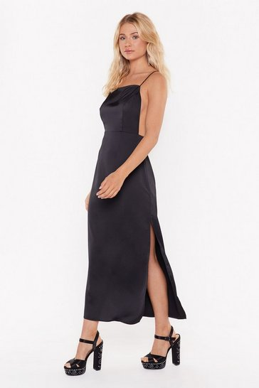 Womens Black Square's the Party Satin Midi Dress