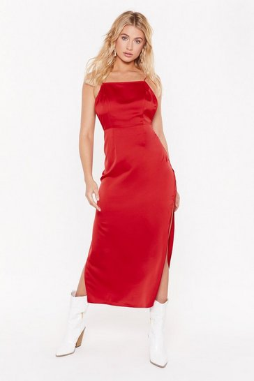 Red Square's the Party Satin Midi Dress