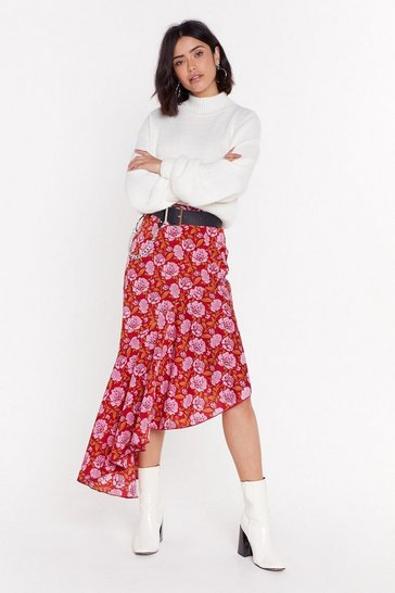 Womens Red Staying Alive Floral Midi Skirt