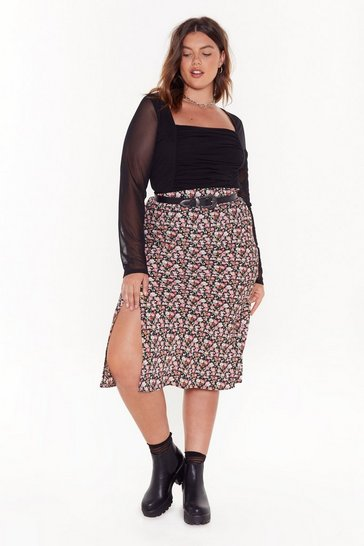 Womens Black Pretty Damn Good Plus Floral Skirt