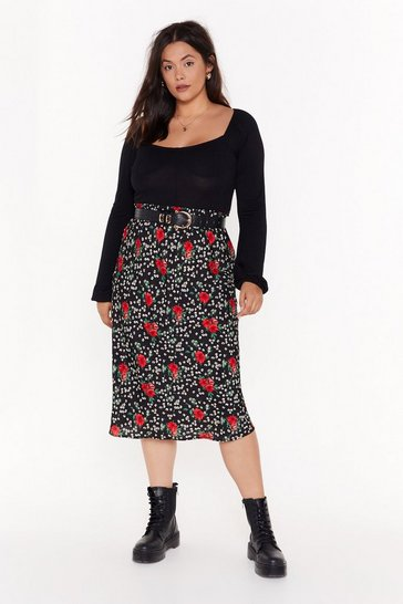 Womens Black Floral or Nothing Plus Midi Skirt