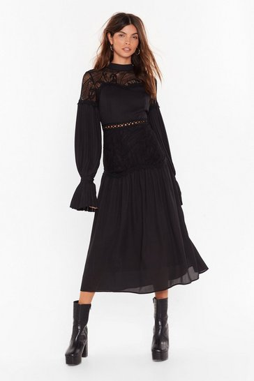 Womens Black Love is Tier Lace Midi Dress